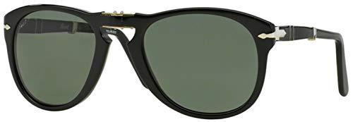 Persol Men's 0PO0714 95/58 52 Aviator Sunglasses,Black Frame/Green Lens ()