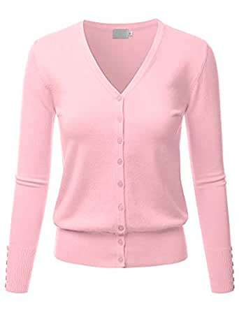 LALABEE Women's V-Neck Long Sleeve Button Down Sweater Cardigan Soft Knit-BABYPINK-S