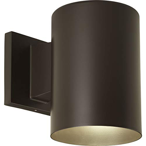 Progress Lighting P5674-20 5-Inch Cylinder with Heavy Duty Aluminum Construction and Die Cast Wall Bracket Powder Coated Finish UL Listed for Wet Locations, Antique Bronze (Wall Sconce Mounted Group)