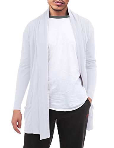 (FISOUL Men's Cardigan Ruffle Shawl Collar Cardigan Open Front Blend Long Length Drape Cape Overcoat)