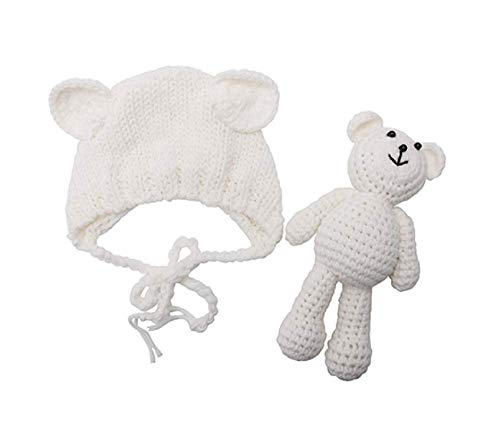 Newborn Baby Crochet Knit Costume Photography Prop Baby Bear Hat and Doll Set (White)
