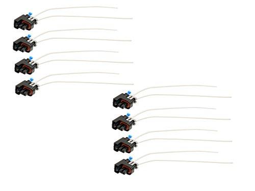 Michigan Motorsports Fuel Injector Connectors Plugs Clips Pigtails Harness - QTY 8 - Fits Delphi Multec Mini LQ4 LQ9 4.8 5.3 6.0