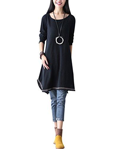 Youlee Mujeres Otoño Invierno Manga larga Vestido de suéter Negro