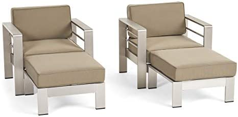 Emily Coral Outdoor Aluminum 2-Seater Club Chair Chat Set