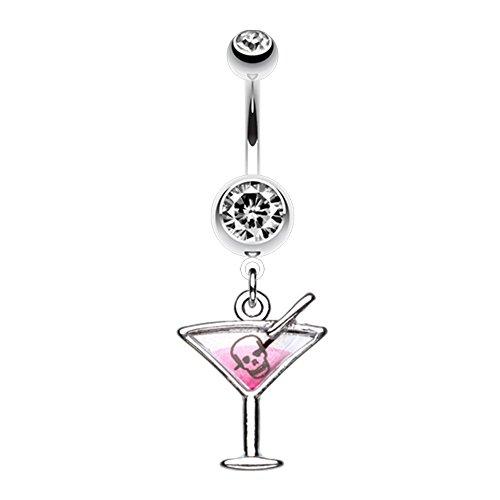 - Poison Skull Martini Glass WildKlass Belly Button Ring