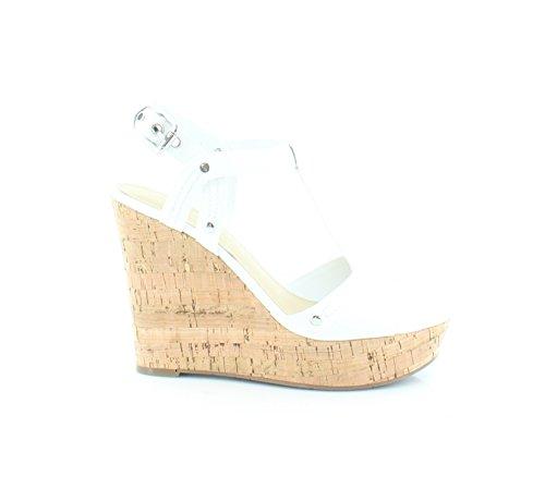 Marc Fisher Frauen Helma Pumps Rund Leger Leder Sandalen mit Keilabsatz White