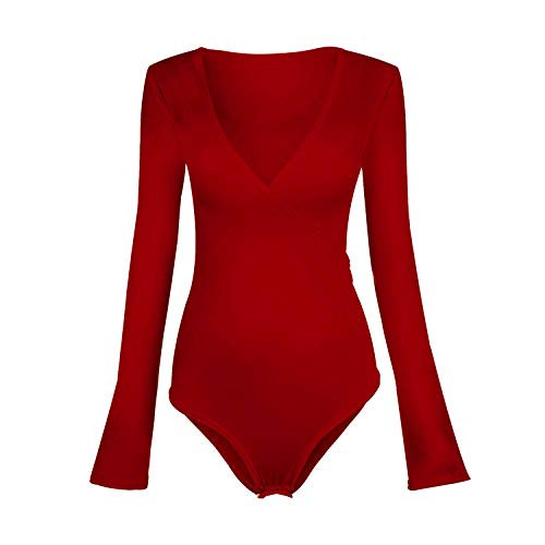 BEEY Womens V Neck Cross Wrap Bodysuit Blouse Jumpsuits (Small, Red Long Sleeve) by BEEY (Image #5)