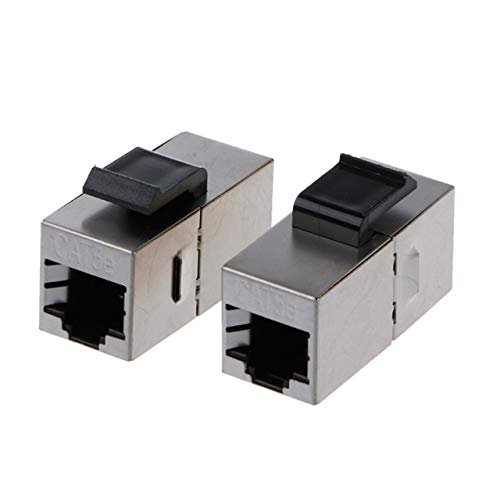 Computer Cables Shielded Pass-Through Network Module Gold-Plated RJ45 Connector Socket Jack -PC Friend - (Cable Length Cat5e)