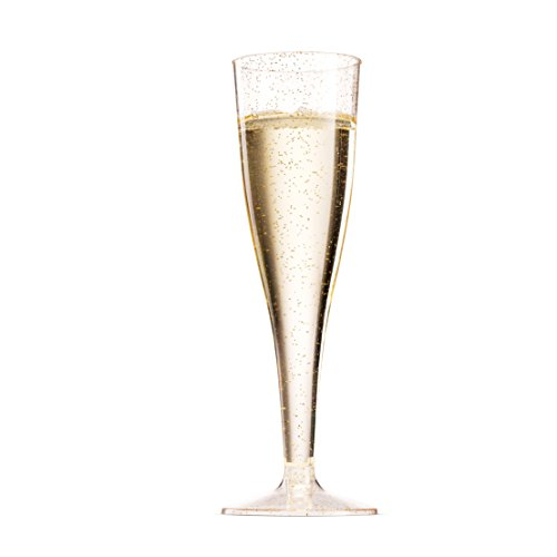 100 Pack Gold Glitter Plastic Champagne Flutes ~ 5 Oz Clear Plastic Toasting Glasses ~ Disposable Wedding Party Cocktail Cups by Munfix (Image #8)