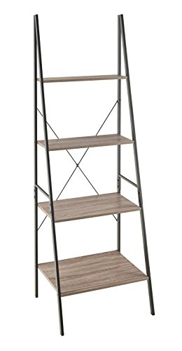ClosetMaid 1316 4-Tier Wood Ladder Shelf Bookcase, Gray -