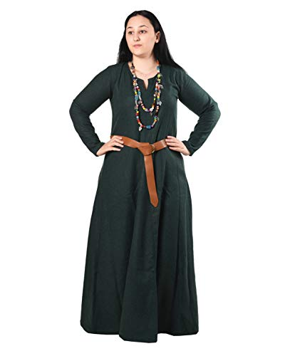 Wilma Medieval Viking Wool Dress by Calvina Costumes - Made in Turkey, Green, X-Large -