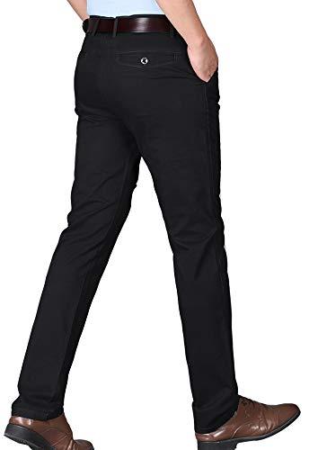 Kuson Pantalon Homme Anti-Rides 100% Coton Taille Normale Tube Droite Décontracté