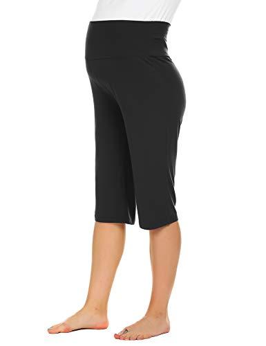 Maternity Black Capri Pants - Ekouaer Women's Maternity Capris Wide/Straight Versatile Comfy Lounge Pants Stretch Pregnancy Trousers Black
