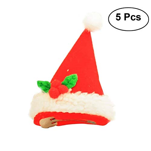 TINKSKY 5PCS Novelty LED Light Up Christmas Hat Hair Clip Fun Xmas Accessories Christmas Birthday Gift friends -