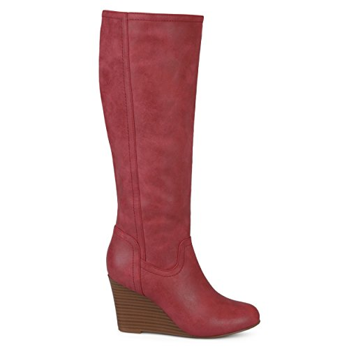 Brinley Co. Womens Regular Wide Calf Round Toe Faux Leather Mid-Calf Wedge Boots Red, 11 Wide Calf US