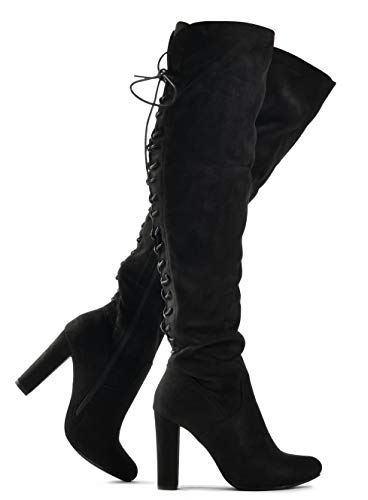 Premier Standard Women's Thigh High Stretch Boot - Trendy High Heel Shoe - Sexy Over The Knee Pullon Boot - Comfortable Easy Heel Black 6.5