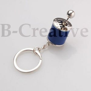 B-Creative Premium Gear Changer Keyring Keyfob Fidget Gear Knob Lever Gear Shift Keyring UK Metal Gearbox 6 Speed Gear Box Blue