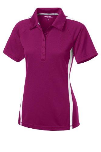 (Sport-Tek Women's Raglan Micro-Mesh Colorblock Polo Shirt_Pink Rush/White_X-S)