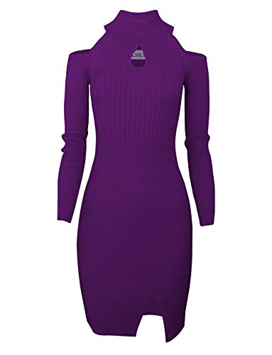 (TAM WARE Women Casual Slim Fit Knit Front Keyhole Sweater Bodycon Dress TWCWD076-PURPLE-US XXL)