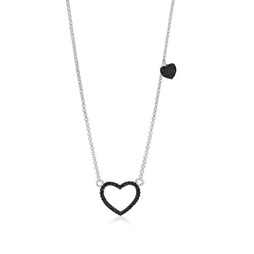(Girls Sterling Silver 925 Black Heart Necklace Cubic Zirconia Black Rhodium Plated Pendant With 15