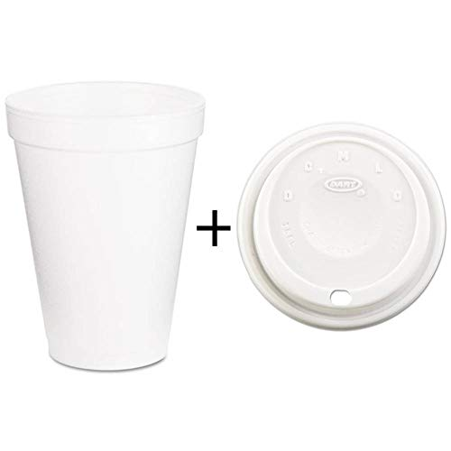 Dart Foam Drink Cups, 12oz, White WITH Cappuccino Dome Sipper Lids, Fits 12-24oz Cups, White - 1000 Pack Cups AND Lids