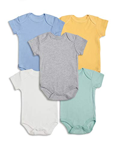 Lily and Page Onesies Baby Boy, 5-Pack Newborn Bodysuit Infant Clothes Cotton Onesie for Boys (Solid, 3-6 Months)