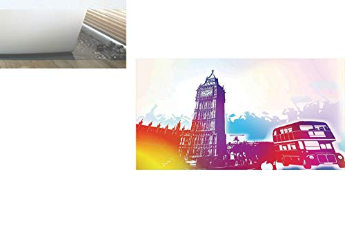(Decorative Privacy Window Film/Historical Big Ben and Bus Great Bell Clock Tower UK Europe Street Landmark/No-Glue Self Static Cling for Home Bedroom Bathroom Kitchen Office Decor Purple Red Yellow)