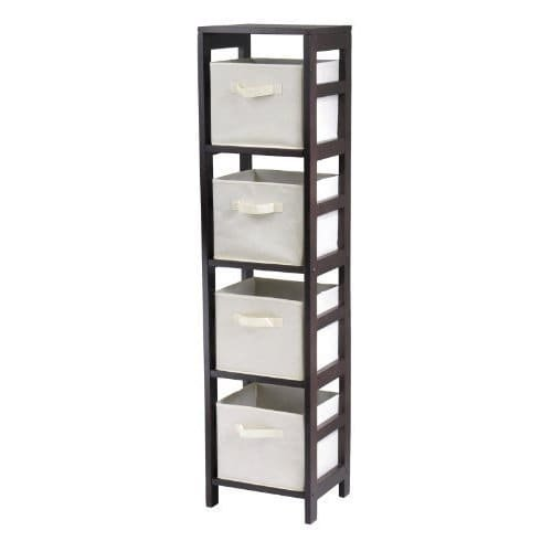 Luxury Home Capri Four-section Storage Shelf with Four Beige Fabric Foldable Baskets by Luxury Home (Image #1)