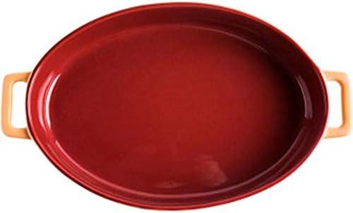セラミック天板 赤セラミックオーバルベーキングトレイの高温度ベーキングバイノーラル魚料理のチーズ焼きライスディッシュ セラミック長方形のベーキングトレイ (色 : Red, Size : 36x21.8x6cm)