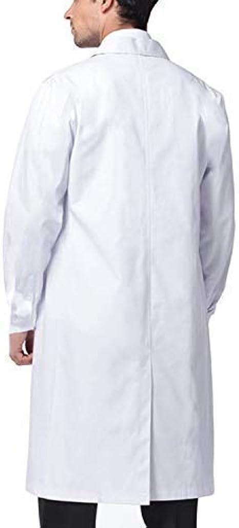 Beautyshow Bata de Laboratorio, Hombre Laboratorio Blanco Uniformes Sanitario Ropa de Trabajo Blanca con Manga Larga Médico Desgaste: Amazon.es: Ropa y accesorios