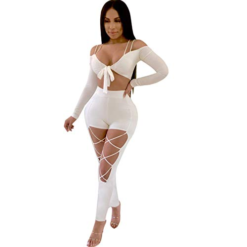 Neck Women Bandage V White Strap Piece Jumpsuit Two wZxPI