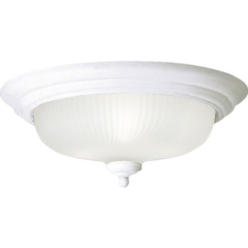 Progress Lighting P3548-30EBWB Swirled Glass Collection 3-Light Flushmount, White
