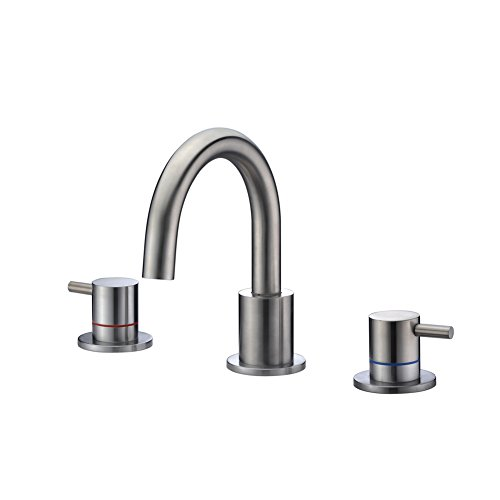 3 Hole Widespread Bath Faucet (CREA Bathroom Faucet 3 Hole 2 Handle Brass Bathtub Faucet Vanity Basin Sink Faucets Tap Widespread Brushed Nickel)