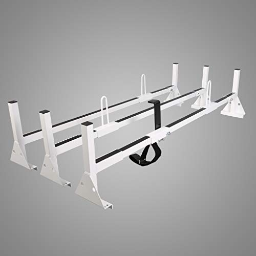 ECOTRIC Universal 3 Bars Van Roof Mount Full Size Steel Ladder Rack for Chevy Express Ford GMC Savana (Best Gutter Guards 2019)