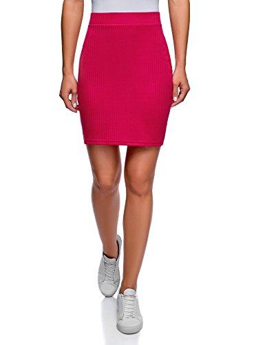 oodji Ultra Women's Basic Jersey Skirt, Pink, 2