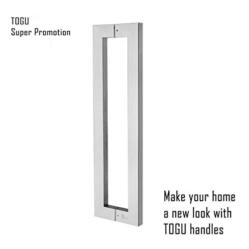 Super Promotion!!!TOGU TG-6013 600mm/24 inches Square/Rectangle Shape Stainless Steel Push Pull Door Handle for Solid Wood, Timber, Glass and Steel Doors, Full Brushed Stainless Steel Finish