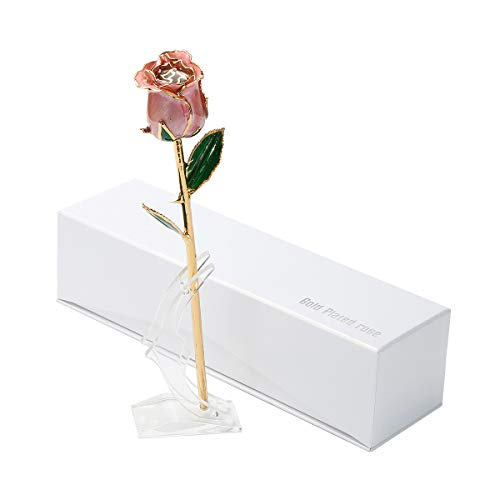Valentine Gifts for Her, 24K Gold Rose Made from Real Fresh Long Stem Rose Flower,Best Gift for Valentine's Day, Mother's Day,Christmas Day, Anniversary, Birthday