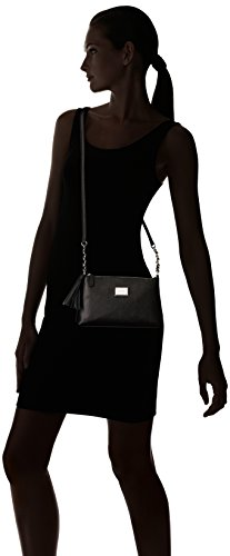 Zip Top Klein Calvin Saffiano Tassel Silver Black Crossbody Leather qSHBxZOTwB