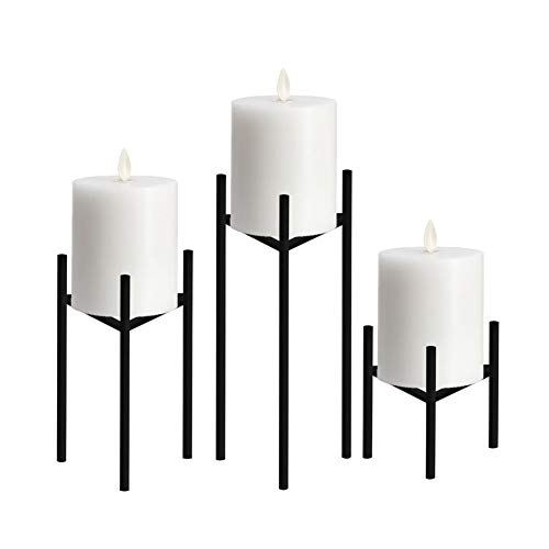 Fireplace Pillar Holder - Only-us Metal Pillar Candle Holders Set of 3 Black Candlesticks for Fireplace/Living Room/Dinning Room Table Candelabra Decoration Modern Art Classic Design with Geometric Shape