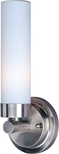 ET2 E53006-11 Cilandro 1-Light Wall Sconce, Satin Nickel Finish, Matte White Glass, MB T10 Incandescent Incandescent Bulb, Wet Safety Rated, 3000K Color Temp., Shade Material, 588 Rated (Cilandro Satin)