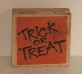 (Vap Scrap Halloween Trick or Treat Stamp with Wood Base)