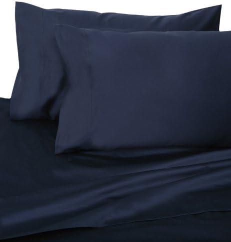 Azul marino HOTEL Juego de sábanas de satén de algodón de 600 hilos Reina: Amazon.es: Hogar