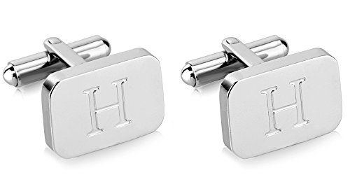 - White-Gold Plated Monogram Initial Engraved Stainless Steel Man's Cufflinks With Gift Box -Personalized Alphabet Letter's By Lux & Pier (H- White Gold)
