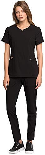 (Cherokee Statement Women's Scrub Set Bundle- CK695 Curved V-Neck Top & CK055 Straight Leg Pant & MS Badge Reel (Black - Large/Medium Petite))