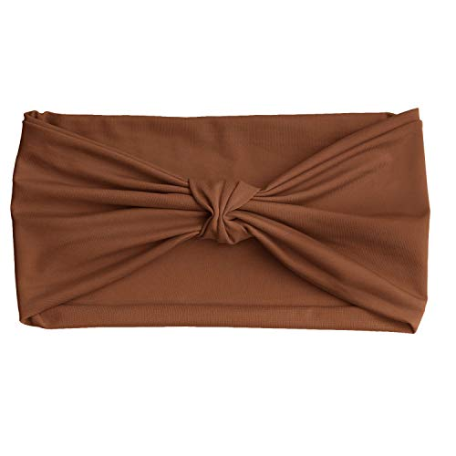 Brown Headwear - MoKo Headbands for Women, Versatile Solid Headband Hair Wrap Multi-Style Casual Sports Headwear, Stretchy Breathable Moisture Wicking Microfiber Head Wrap for Workout, Running, Yoga & More