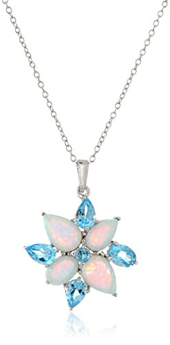 Sterling Silver Created Opal and Genuine Swiss Blue Topaz Flower Pendant Necklace, 18