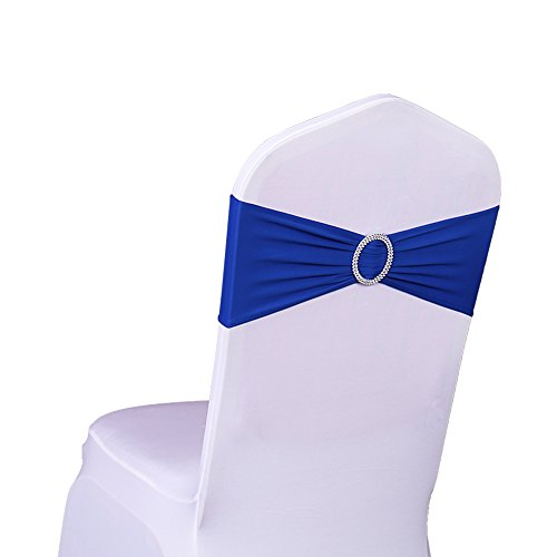 Sash Any Color (SINSSOWL 100PCS Stretch Wedding Chair Bands With Buckle Lycra Slider Sashes Bow Decorations 25 Colors (royal blue))