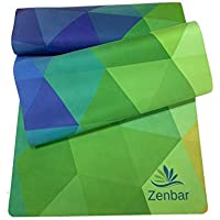 Zenbar Premium Suede Geometric Design Fitness Yoga Mat Non Slip Microfiber with Carry Strap.