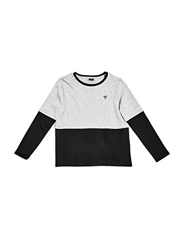 GUESS Big Boys' Long Sleeve Quilted Two-Fer T-Shirt, Light Heather Grey, 12