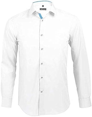 Broker - Camisa Ajustada Hombre Manga Larga Blanco/Cielo Claro, T XXL: Amazon.es: Ropa y accesorios